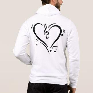 Musique d'amour de clef d'illustration pull à capuche