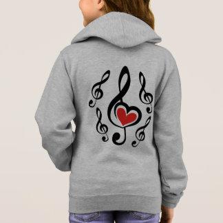 Musique d'amour de clef d'illustration veste à capuche