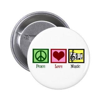 Musique d'amour de paix macaron rond 5 cm