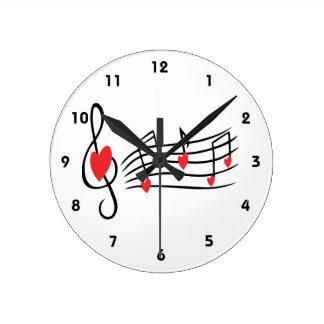 Musique d'amour horloge ronde