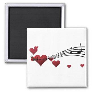 Musique d'amour magnet carré