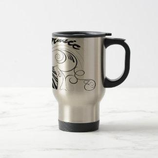 Musique, piano et clef avec les éléments floraux mug de voyage en acier inoxydable