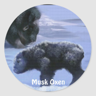 Musk Oxen and Snow Animal-Lover Art Set Round Sticker