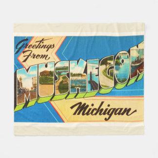 Muskegon Michigan MI Old Vintage Travel Souvenir Fleece Blanket