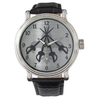 Musketeer Swords Silver Wrist Watch