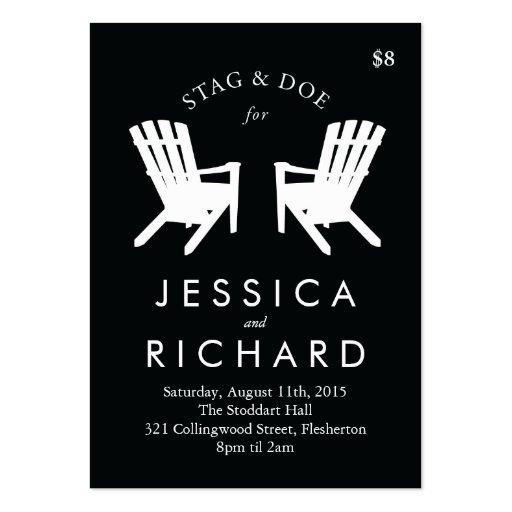 stag and doe ticket templates - muskoka chair stag and doe ticket black white pack of