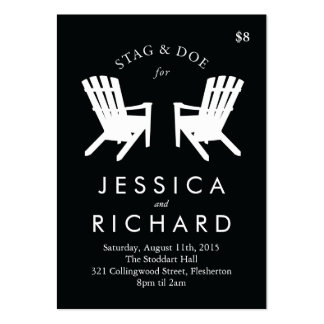 Muskoka Chair Stag and Doe Ticket // Black & White Large Business Card