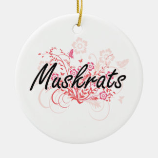Muskrats with flowers background round ceramic ornament