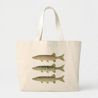 Musky Tiger musky and Northern Pike vector Large Tote Bag