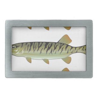 Musky Tiger musky and Northern Pike vector Rectangular Belt Buckles