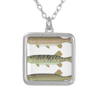Musky Tiger musky and Northern Pike vector Silver Plated Necklace
