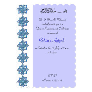 Muslim Baby Boy blue aqiqah Islamic Card