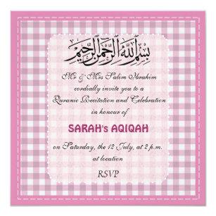 Muslim Baby Girl Aqiqah Celebration Invite