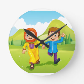 Muslim boy and girl holding hands clock