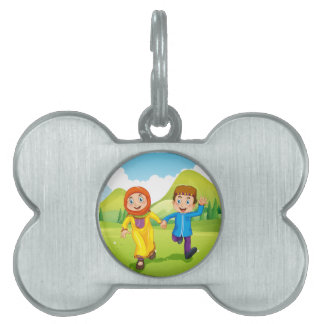 Muslim boy and girl holding hands pet tags