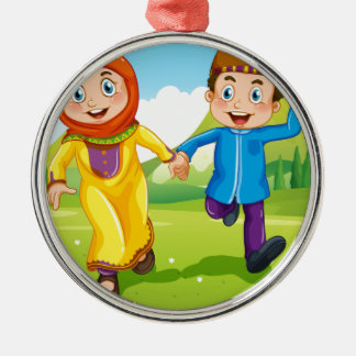 Muslim boy and girl holding hands Silver-Colored round ornament