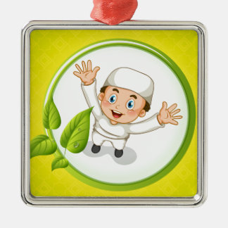 Muslim boy with happy face Silver-Colored square ornament