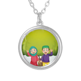 Muslim couple in the park silver plated necklace
