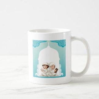Muslim couple in white costume reading books coffee mug