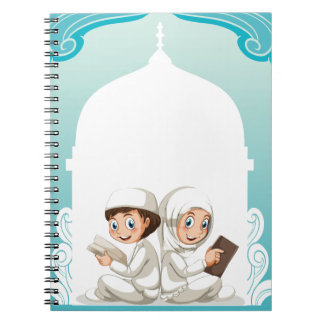 Muslim couple in white costume reading books spiral note books