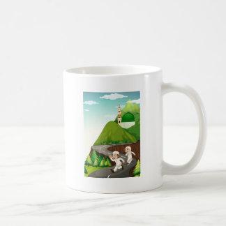 Muslim couple running down the road coffee mug