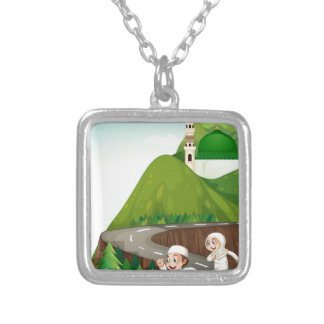 Muslim couple running down the road silver plated necklace