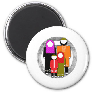 Muslim Family 2 Inch Round Magnet