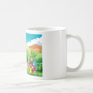 Muslim family at the mosque classic white coffee mug