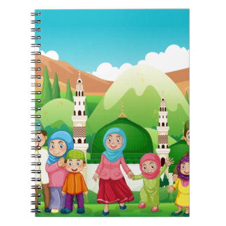 Muslim family at the mosque spiral notebook