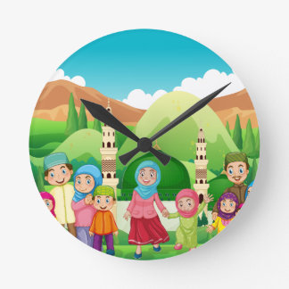 Muslim family at the mosque wall clocks