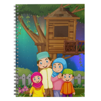 Muslim family in the garden at night note books