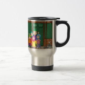 Muslim family standing by the road travel mug
