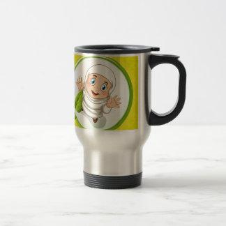 Muslim girl with happy face travel mug