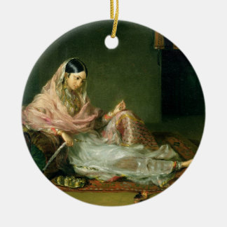 Muslim Lady Reclining, 1789 (oil on canvas) Round Ceramic Ornament