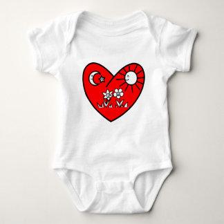 Muslim Valentine Red Heart Baby Bodysuit
