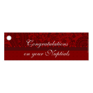 Muslim wedding red asian indian brocade gift tag business cards