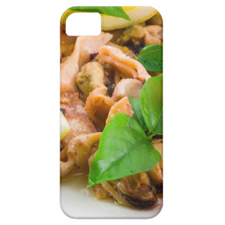 Mussels, squid and octopus, decorated with greens, case for the iPhone 5