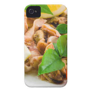 Mussels, squid and octopus, decorated with greens, Case-Mate iPhone 4 cases