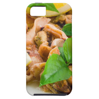 Mussels, squid and octopus, decorated with greens, iPhone 5 covers