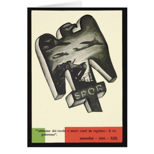 Mussolini Propaganda Greeting Cards