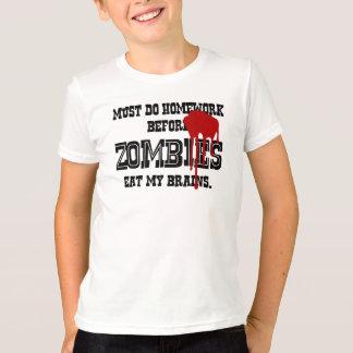 Must Do Homework Before Zombies Eat My Brain Tshirts