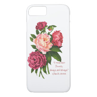 Must Have Flowers Monet Quote Vintage Peony Flower iPhone 8/7 Case