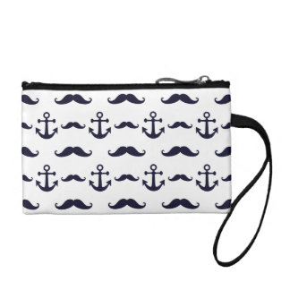 Mustache and anchor coin purse