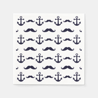 Mustache and anchor napkin