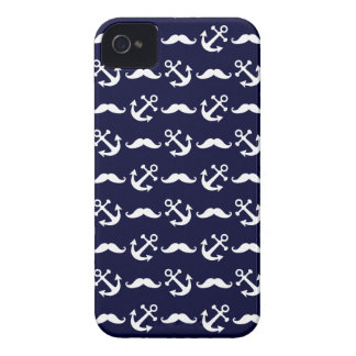 Mustache and anchor pattern iPhone 4 case