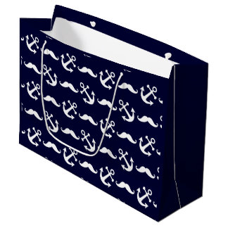 Mustache and anchor pattern large gift bag