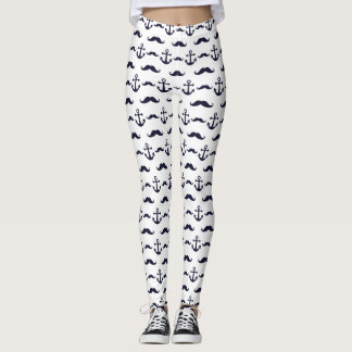 Mustache and anchor pattern leggings