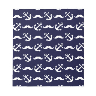Mustache and anchor pattern notepad
