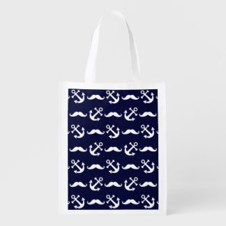 Mustache and anchor pattern reusable grocery bag