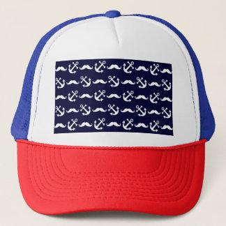 Mustache and anchor pattern trucker hat